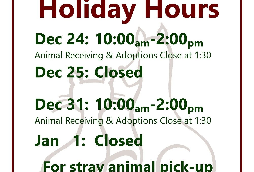 HSCO Holiday Hours 2019